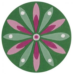 Dětský koberec Arte Espina Květy zelená kruh - Ø100