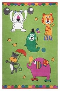 Dětský koberec Veselí zvířecí artisti zelená - 110x170
